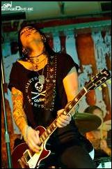 LeatherGirl hand carved guitar strap worn by Staven.  RocknRoll Allstars - Sweden