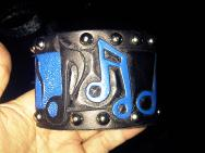 LeatherGirl hand cut and carved music note studded bracelet.  Black and Blue.  Gift for Kirk October from Crue Fest.